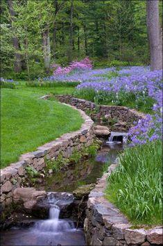 Beautiful Backyard Waterfall Ideas on A Budget - Page 52 of 100 Backyard Stream, Garden Stream, Backyard Water Feature, Ponds Backyard, Water Garden, Backyard Waterfalls, Pond Landscaping, Landscaping With Rocks, Landscape Design