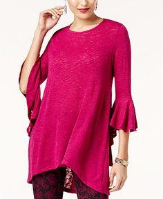 Alfani High-Low Bell-Sleeve Tunic, Created for Macy's - Tops - Women - Macy's