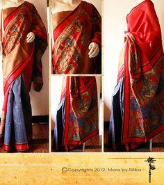 red  & blue kalamkari saree bu MORA