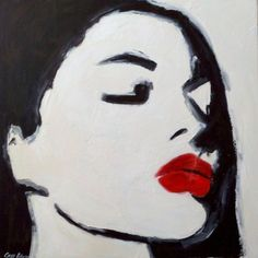 "30""x30"" Abstract Painting of red lips"
