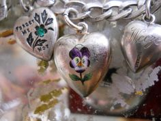 Antique Sterling Silver Enamel Puffy Heart Pansy Forget Me Not Charm Bracelet