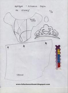 ARTE COM QUIANE - Paps,Moldes,E.V.A,Feltro,Costuras,Fofuchas 3D: Molde Princesinha Sofia de e.v.a