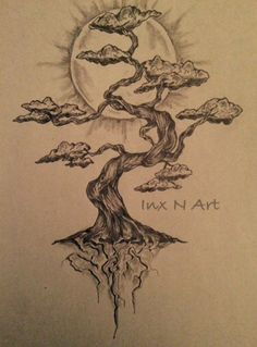 Bonsai tree mural sketch by - Ranz