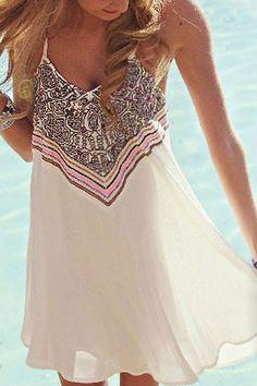 Spaghetti Strap Stripes Print Sleeveless Dress WHITE: Summer Dresses | ZAFUL
