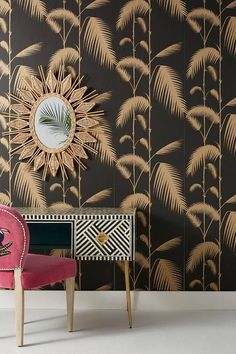Palm Leaves Wallpaper by Anthropologie in Black, Wall Decor Palm Leaf Wallpaper, Unique Wallpaper, Of Wallpaper, Pattern Wallpaper, Gold Wallpaper Hallway, Black Wallpaper Bedroom, Apartment Wallpaper, Black Gold Jewelry, Small Rooms
