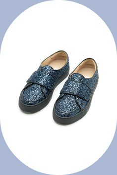 L'Autre Chose #sneakers in blue glitter and strap. #lautrechose #slipon #fashion #ss15 #blue #glitter #shoes #sneakersobsession #trend