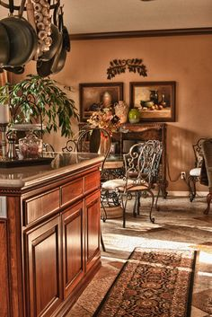 Tuscan Design, Pictures, Remodel, Decor and Ideas - page 130 - ...brown molding vs. white? hmmm... pots and pans over the counter - a must!