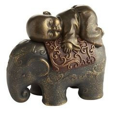 golden monk on elephant | Monk on Elephant Box with hideaway