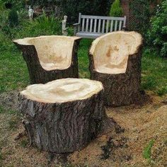 Outdoor project with logs