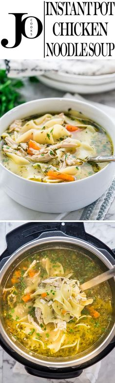 Instant Pot Chicken Noodle Soup made from scratch and in a fraction of the time. Delicious and hearty, loaded with noodles and chicken, this soup will warm the cockles of your heart.