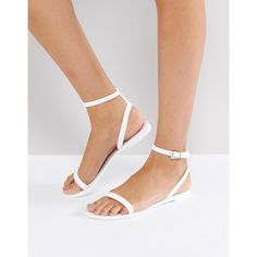 ASOS FELINE Jelly Flat Sandals ($15) ❤ liked on Polyvore featuring shoes, sandals, white, flat shoes, prom sandals, open toe flat sandals, white shoes and jelly flat sandals