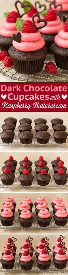 Dark Chocolate Cupcakes with Raspberry Buttercream Frosting - these are so decadently DELICIOUS! The ultimate Valentines Day cupcake! Love that the frosting is naturally pink and has a wonderful fresh