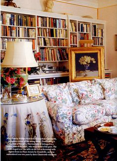 the sitting room  largely furnished with furnishings from the Chatsworth attics, her own drawings,  paintings and sculptures, with other paintings loaned from Chatsworth,    with decorating assistance from David Mlinaric