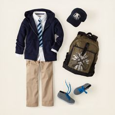 boy - outfits - A+ uniform looks - prep patrol Back To School Uniform, School Uniform Fashion, Back To School Outfits, Kids Uniforms, School Uniforms, Trendy Boy Outfits, Kids Outfits, Public School, Private School