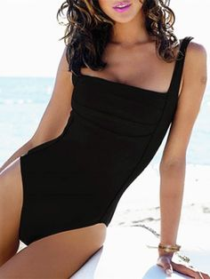 Sexy Square Neck Sleeveless One Piece Solid Color Women's Swimwear