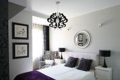 Biało- czarna sypialnia w stylu glamour   - zdjęcie numer 1