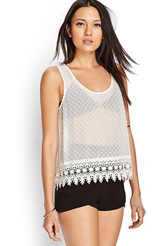 Swiss Dot Crochet Tank | FOREVER 21 - 2000123704