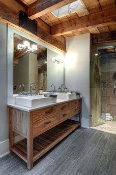 Luxury canadian home reveals splendid rustic-modern aesthetic rustic master bathroom, rustic bathroom designs Rustic Master Bathroom, Rustic Bathroom Designs, Rustic Bathroom Vanities, Modern Farmhouse Bathroom, Rustic Bathroom Decor, Modern Bathroom Design, Modern House Design, Small Bathroom, Bathroom Ideas
