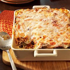 Baked Spaghetti Recipe -Every time that I make this cheesy dish, I get requests for the recipe. It puts a different spin on spaghetti and is great for any meal. The leftovers, if there are any, also freeze well for a quick dinner later in the week. —Ruth Koberna, Brecksville, Ohio