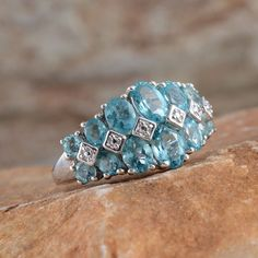 Madagascar Paraiba Apatite Ring in Platinum Overlay Sterling Silver (Nickel Free)