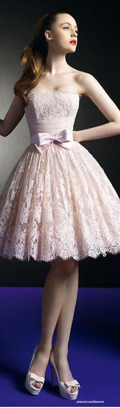 Beautiful lace dress,pink prom #dress 2015 love t...