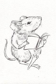 Mouse Reader- Coloring Page Printable, JPEG Instant Download