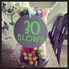 30th birthday party bubble gum party favor! See more: http://www.venuesfor30thbirthdayparty.com/30th-birthday-ideas/