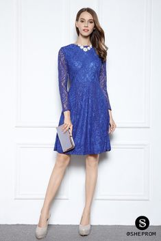 Shop Vintage Navy Blue Homecoming Party Dress Knee Length with Belt online. SheProm offers formal, party, casual & more style dresses to fit your special occasions. Formal Dresses For Men, Dresses For Teens, Trendy Dresses, Short Dresses, Long Sleeve Short Dress, Short Lace Dress, Knee Length Dresses, Lace Sleeves, Blue Lace