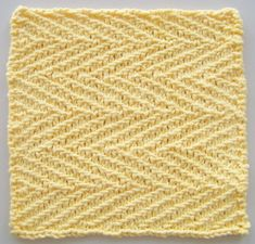 """Free Knitting Pattern for Herringbone Dishcloth - This kitchen dishcloth measures 8"""" x 8"""". The herringbone stitch makes a great scrubbing surface. Designed by Joan Laws"""