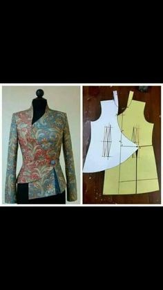 Best 10 ENG➡️to draft the pattern of this dress, start from a basic block with darts dart manipulation of the front bodic – SkillOfKing. Frock Patterns, Designer Blouse Patterns, Dress Sewing Patterns, Clothing Patterns, Blouse Designs, Batik Fashion, Fashion Sewing, Diy Fashion, Moda Fashion
