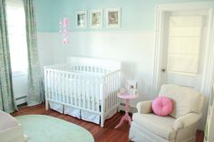 I wanted to create a room that would easily be transitioned to a little girls room.  I wanted the room to be super girly but not too baby-ish.