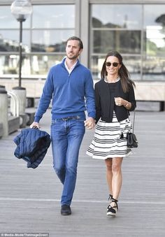 Pippa Middleton was pictured with her new husband, James Matthews, around Sydney Harbour on Wednesday morning (pictured)