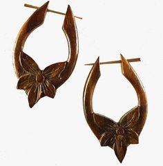 Star Flower. sono wood earrings.