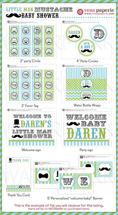 07aa2542abf Little Man Mustache Baby Shower Package Personalized FULL Collection Set -  PRINTABLE DIY - BS829CA3x