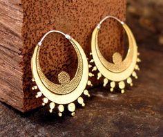 "Hand-Crafted Boho Women Brass Loop Earrings Ethnic Tribal Look ""Angel"""