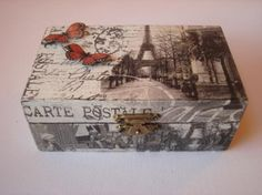 Cigar Box Art, Cigar Box Crafts, Decoupage Wood, Decoupage Vintage, Decoupage Suitcase, Scrapbook Box, Altered Cigar Boxes, Diy And Crafts, Paper Crafts