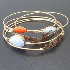 Free as a Bird Stacking Bangle Bracelet Set, Gold, Blue, Coral, Bangle Stack, Bangle Set, Free Bird, Gold Bracelet Stack, Fly High Freebird