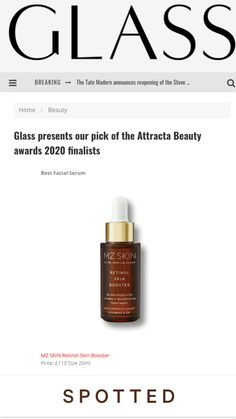 The Glass Magazine features Retinol Skin Booster as the Attracta Beauty awards 2020 finalist in the category Best Facial Serum! @theglassmagazine @MZSkinOfficial #MZSkin #DrMaryamZamani #MZGlow #Glowingskin #skincare #glass #beauty #retinol #attractabeauty #award