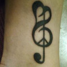 Peace, love, and music tattoo