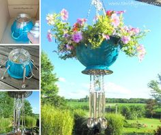 Colander wind chime flower hanging pot. Creative ways to add color and joy to a garden, porch, or yard with DIY Yard Art and Garden Ideas! Repurposed ideas for the backyard. Fun ideas for flower gardens made from logs, bikes, toys, tires and other old junk. ~ featured at LivingLocurto.com