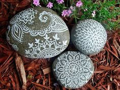 Painted Garden Stones. Nice, this will keep kids busy!!