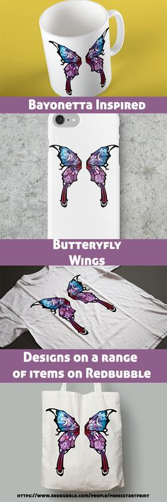Fly to the moon with these butterfly wing design inspired by video game Bayonetta starring characters from both games. Great gift for yourself or any fan or gamer. Other products available. Repin and check out here (go down the page and click 'Available Products' to see others): https://www.redbubble.com/people/pressstartprint/works/27286229-bayonetta-butterfly-wings?p=tote-bag&rel=carous