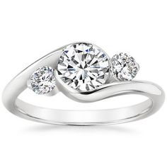 Platinum Cascade Three Stone Ring - ethically sourced engagement ring