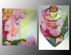 Silk shawl Gladiolus Batik handpainted on silk by lavanita on Etsy, $149.00