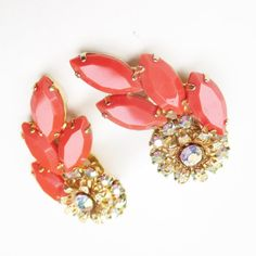 Vintage Pink Rhinestone Earrings Cabochon AB rhinestone Gold Tone Pair Clip On