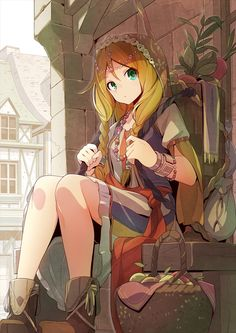 1girl basket blonde_hair boots bracelet braid building female green_eyes half-timbered jewelry looking_at_viewer necklace original outdoors sitting solo tomioka_jirou twin_braids white_sky