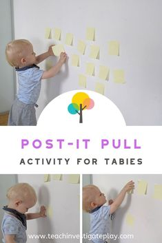 Post-It Pull Michelle Johnson michellemusicc One is Fun! POST-IT PULL//Mr 15 months is in full on curious mode and this … Toddler Fine Motor Activities, Baby Learning Activities, Activities For 1 Year Olds, Motor Skills Activities, Montessori Activities, Infant Activities, Montessori Toddler, Kids Learning, Activities 1 Year Old