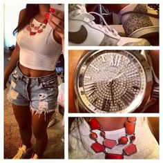 Some simple swag: cheetah nikes, high waisted jean shorts, white crop top, and a coral colored necklace to match the shoes