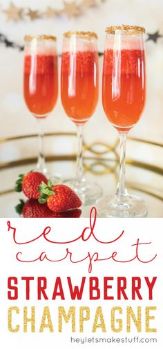 Strawbery champagne is a delicious treat! The perfect drink for awards season, a girls night out, bridal showers, or just for fun!