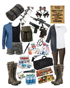 The Zombie Apocalypse Survival Kit - US Prepper Nation Zombie Apocalypse Outfit, Apocalypse Survival Kit, Apocalypse Fashion, Mode Outfits, Fashion Outfits, Womens Fashion, Walking Dead Clothes, Fandom Outfits, Badass Outfit